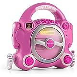auna Pocket Rocker Lecteur CD karaoké enfant (enceintes stéréo intégrées, 2 micros, sortie jack ...