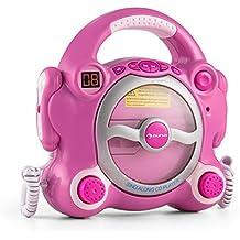 auna Pocket Rocker Impianto karaoke per bambini con lettore CD e altoparlanti stereo integrati (2 microfoni con volumi separati, funzione program e repeat) - rosa