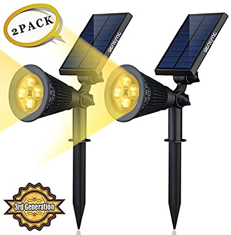 Solar LED Lights (2 Pack) [3rd Generation] Siensync(TM) 2-in-1 Solar Powered Outdoor Spotlight (Warm White LEDs) for Landscape Lighting Waterproof Wall Light Bulb Driveway Yard Lawn Pathway Garden