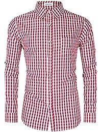 Clearlove Hemd Herren Slim Fit Kariert Freizeithemd,Trachtenhemd - für Oktoberfest & Freizeit & Business