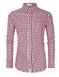 Clearlove Trachtenhemd Herren Hemd Slim Fit Kariert Freizeithemd - für Oktoberfest & Freizeit & Business,Rotes Karo,36