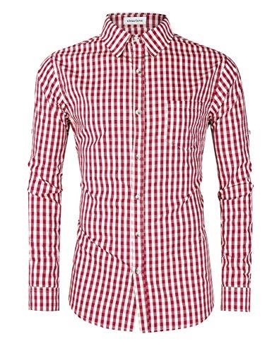 Clearlove Trachtenhemd Herren Hemd Slim Fit Kariert Freizeithemd - für Oktoberfest & Freizeit & Business,Rotes Karo,40