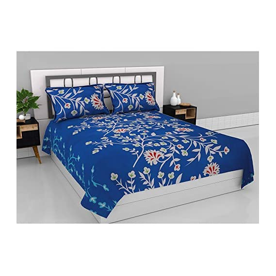 Aurome Microfiber (120 GSM) Queen Size Double Bedsheet with 2 Pillow Covers - Azure Blooms