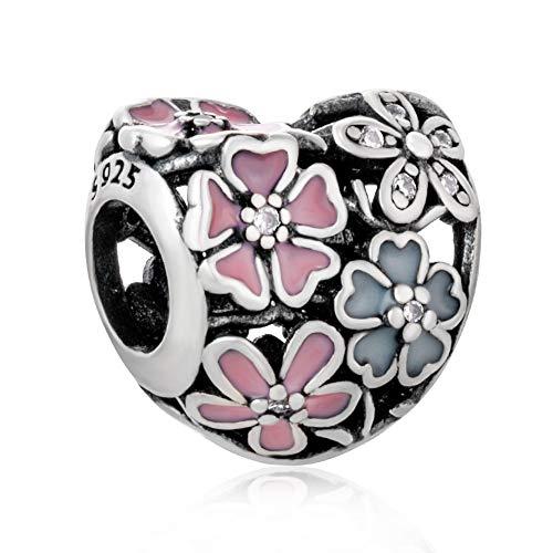 Rose charm in argento sterling 925con ciondolo a forma di fiore a forma di cuore anniversary charm per braccialetti pandora