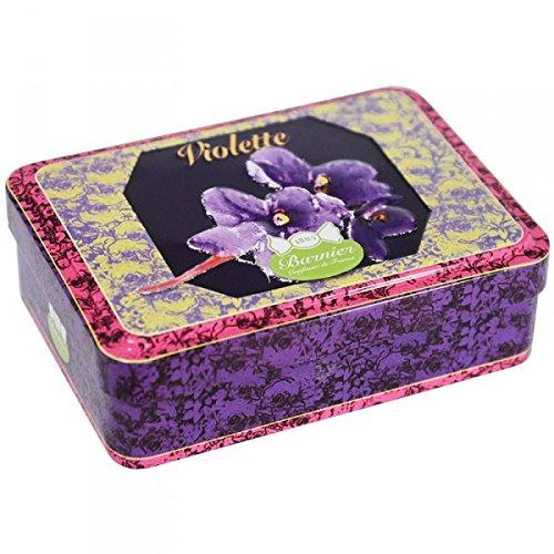 Boite fer très jolie avec relief contenant 150g bonbons Violettes bonbons d'antan