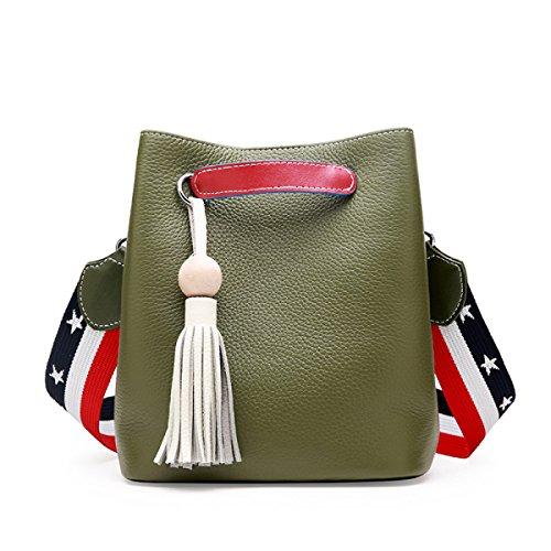 ZPFME Frauen Handtasche Leder Damen Tasche Mode Messenger Bag Schultertasche Mädchen Party Retro Damen Mode Kampf Farbe Wild Green