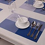 Buckle Up Checks Pattern Antislip Table Mats/Placemats - Set Of 4 (Blue)
