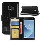 HualuBro Galaxy J2 Pro 2018 Hülle, Premium PU Leder Leather Wallet Handyhülle Tasche Schutzhülle Case Flip Cover mit Karten Slot für Samsung Galaxy J2 Pro 2018 Smartphone (Schwarz)