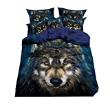 Sticker superb Blau 1 Person 135x200cm Bettbezug Set 3D Wolf Tier Bettwäsche Set für Junge Mann (3D Wolf 6, 135x200cm für 1.2M Bett)