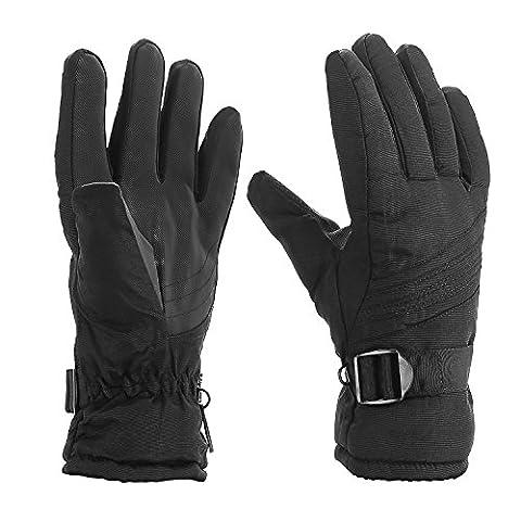 Gants de ski thermique, imperméable, snow-proof, chaud pour sports d'hiver, ski, Moto, Vélo, Randonnée, conduite, conduite & d'équitation (Noir)