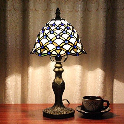 8 pollici Vintage Pastorale Stained Glass stile Blue Bead Lampada da tavolo Camera Lampada Lampada da comodino
