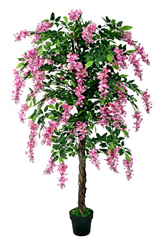 McPalms Wisteria 1,90 m Rosa künstlich Kunstbaum Kunstpflanze Echtholzstamm