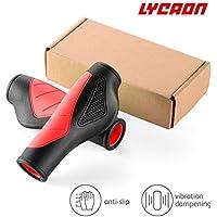 LYCAON Bike Grips Puños de manillar de bicicleta con escombros sólidos y extra gruesos, 5 opciones de color (rojo)