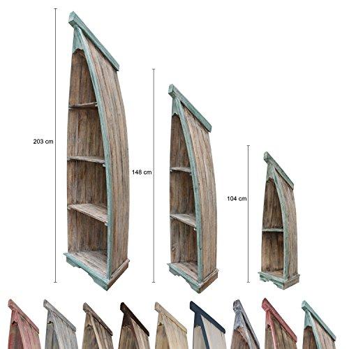 Badregal Bootsregal Boot Regal Bücherregal Bücherschrank Standregal Aufbewahrung 148 cm Albesia Holz Braun Grün