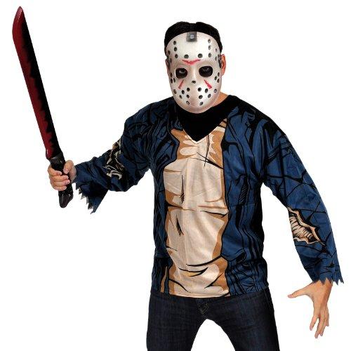 Freitag der 13. Jason Kostümset für Erwachsene Oberteil, Machete, Maske, Horror Halloween (Jason Für Kostüm Erwachsene)