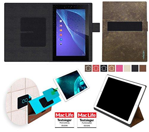 reboon Hülle für Sony Xperia Z2 Tablet Tasche Cover Case Bumper | in Braun Wildleder | Testsieger