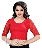 Fressia Fabrics Women's Cotton Saree Blouse (107-Red-Fs_Red_Free Size)