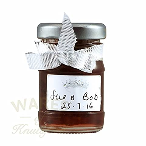 100 x 50ml Miniature Jam Jars with silver twist off lids ideal for wedding favours, samples and gifts.