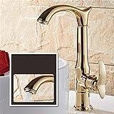 T-TSLT Kupfer Küche Wasserhahn vergoldet Bad Arbeitsplatte Becken Wasserhahn Universal Waschbecken Wasserhahn