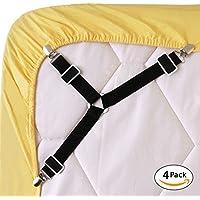 vimmor ajustable Bed Sheet Fasteners triángulo soporte de agarre de tirantes elástico correas Clip para cama hojas, fundas de colchón, cojín de sofá y silla Asientos cojín, 4unidades