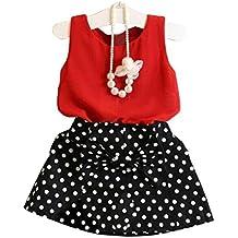❤️Robe de Filles , Amlaiworld Filles Gilet Plissé Robe Deux Pièces ont Mis des Vêtements Costume de Jupe d'enfants Pour 1-6Ans Fille