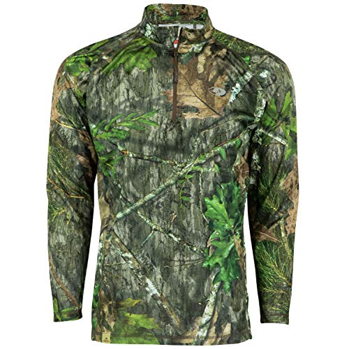 Mossy Oak Herren Jagdhemd, leicht, 1/4 Reißverschluss, Camouflage, Herren, Men's Camo Lightweight 1/4 Zip Hunting Shirt, Obsession, 3X-Large - Mossy Oak Camouflage Kleidung