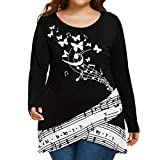 TWIFER Damen Schmetterling Music Note Langarmshirts Bluse Plus Size T-Shirt (L-5XL) (5XL, Schwarz)