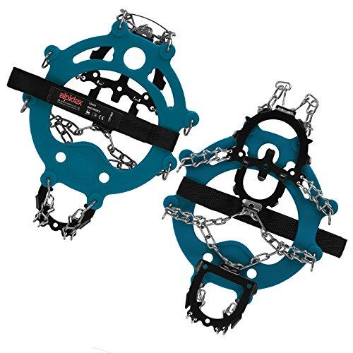 ALPIDEX Schuh Spikes Grödel SNOWDEX Schneeketten für Schuhe in verschiedenen Größen Schuhkrallen mit Edelstahlspikes 12 Zähne, Größe:M, Farbe:Blue