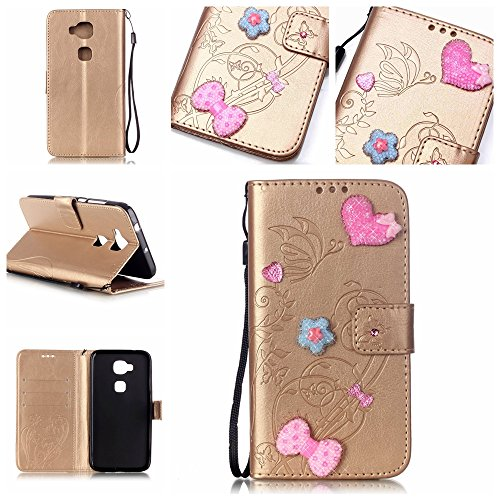 Handyhülle für HUAWEI G8, BONROY® PU Leder Hülle Flip Case Booklet Geldbörse mit Standfunktion, Kartenfach & Weich TPU Innere - Pink Love Heart