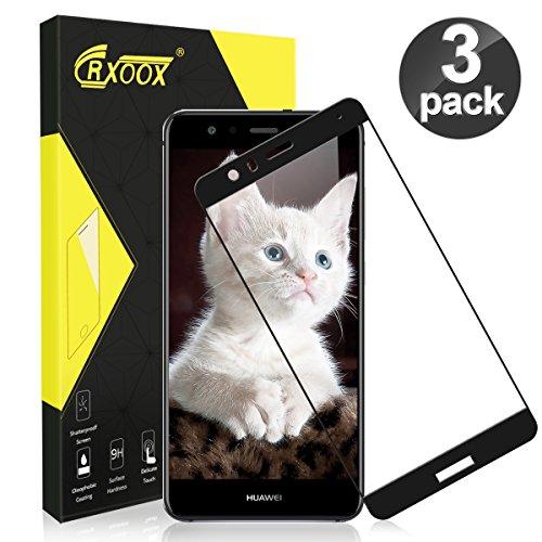 CRXOOX Verre Trempé pour Huawei P10 Lite 3 Pack Film de Protection Couverture Complète Protection D'écran sans Bulles d'air Protégé Ecran pour Huawei P10 Lite Verre Protection Anti Rayures Noir
