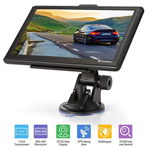 GPS Navigation für Auto, Tenswall Navigationsgerät für LKW PKW KFZ 7 Zoll 8GB 256MB Touchscreen Navi mit POIBlitzerwarnungSprachführungFahrspur, Lebenslang Kostenloses EU-58Karten - Für Gps-navigation Fahrrad