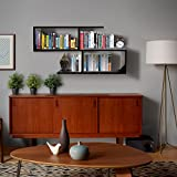 #9: Klaxon Home Decor Wall Shelves / Book Shelf And Storage Wall Shelves Wooden S Shape - (Black,Matte Finish)