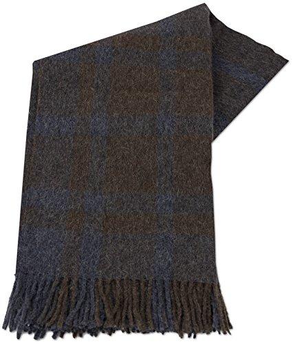 ALPACAFAB - Alpaka Decke Plaid Kuscheldecke Überwurf - Tumila - Alpaka und Wolle 130 x 180 cm Blau / Braun