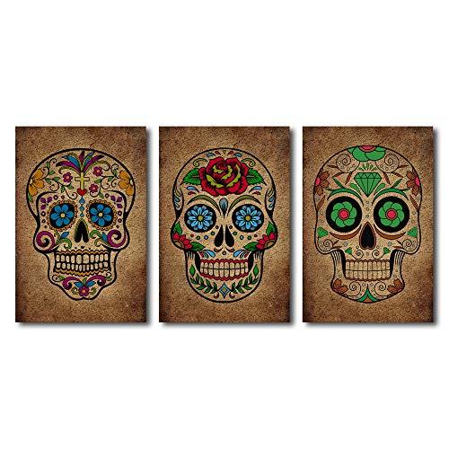 Garden Art Wandbild, Totenkopf, abstraktes Design, 3-teilig, Sugar Skull Day of The Dead Abstrakt 16x24x3pcs Totenkopf (Sugar Skull Art)