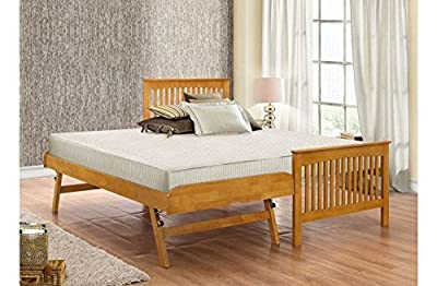 Happy Beds Toronto Renowned Rubber Wooden Guest Bed Single Furniture 2x Mattress - low-cost UK light shop.