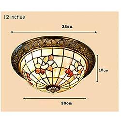 Tony Yimei Iluminación Magnolia Natural Shell Salón Dormitorio de techo Lámpara de pasillo luces del pórtico de la lámpara Tiffany Continental
