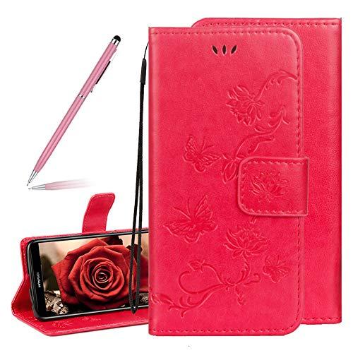 SKYXD Gaufrage Papillons Lotus Motif Mode Flip Portefeuille Coque pour Huawei Honor 10, Élégant rétro Fleur Embossé à Rabat en PU Cuir Protection Fermeture Magnétique Antichoc(Rouge Rose)