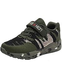 Zapatillas de senderismo para niños al aire libre, zapatillas antideslizantes ligeras transpirables para niños y niñas, zapatillas de camuflaje de malla tejida, cómodas zapatillas deportivas de velc