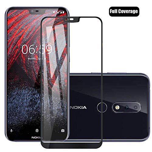 Voviqi Nokia 6.1 Plus Panzerglas, Hüllenfre&lich Vollständige Abdeckung Schutzfolie gehärtetem Glas Folie Blasenfrei Volle Abdeckung Bildschirmschutzfolie für Nokia 6.1 Plus (Schwarz)