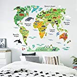 liekas Animal World Map Wall Sticker 90 * 60CM Waterproof Removable Home Decoration Decal for Children Room Nursery Kids Studyroom