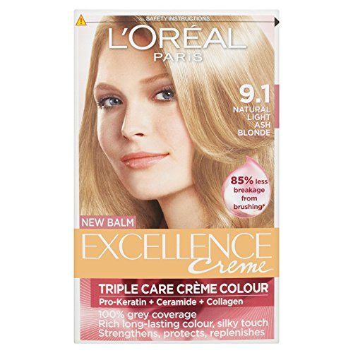 3 x Excellence Lght Ash Blnd 91 - L ' Oreal Excellence Creme Triple Protection