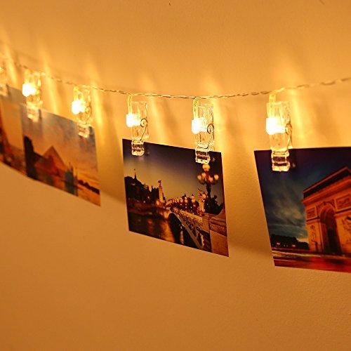 20 LEDs Foto Clips Lichterketten, Warmweiß Dauerlicht für Bilder Fotos Karten Hängen, Batteriebetriebene Stimmungsbeleuchtung Dekoration für Valentinstag, Weihnachten, Geburtstag, Party, 2,2m (Weihnachten Party Dekoration)