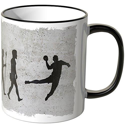 JUNIWORDS Tasse - Wähle Motiv & Farbe -Evolution Handball - Schwarz