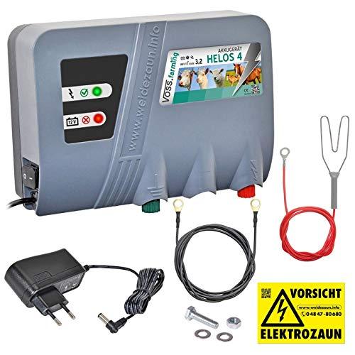 VOSS.farming 12V 230V Solar Weidezaungerät HELOS 4, Batteriegerät, Netzgerät, Perfekte Hütesicherheit für Pferde, Rinder, Schafe, Ziegen, Elektrozaun, Weidezaun