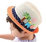LAAT Chapeau de Soleil Plage Anti-UV Solaire d'été Chapeau de Paille pour Fille Garçon Enfant Bébé Protection Soleil Voyage Plage (Beige)