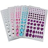 Gioielli Artigianali Autoadesivi Retro Piatto Strass Cristallo Gemme Adesivi Abbellimenti, Taglie Assortiti, 5 Colori, 5 Fogli