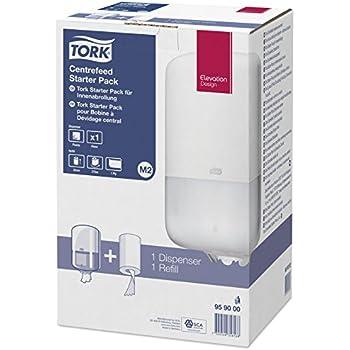 Tork 959000 - Pack con dispensador de papel mecha y recambio de papel mecha, color blanco