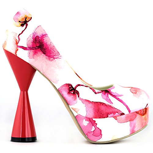 Visualizza storia PeepToe stampa floreale glamour cono tacco piattaforma partito pompa, LF40812 Rosa