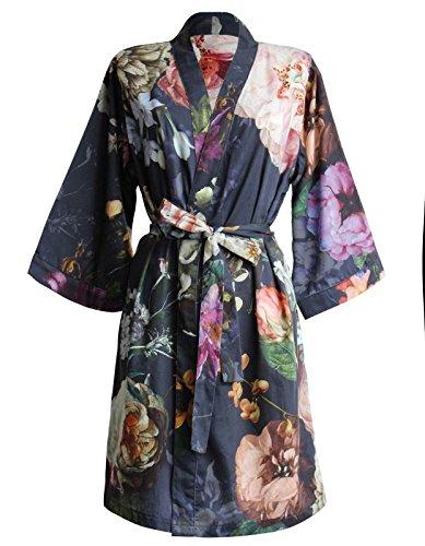 Essenza Satin-Kimono Fleur Größe M, Farbe Nightblue, M = 38, Nightblue (Pyjama Satin Floral)