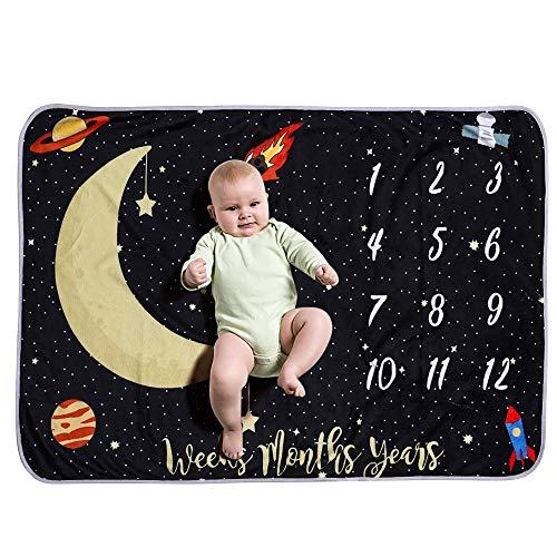 homese Baby monatliche Meilenstein Decke für Mädchen junge Flanell Nachthimmel Mond Sterne für Babys Foto Bild Prop Hintergrund Baby-Dusche-Geschenke 40 * 28 Zoll nicht falten oder verblassen